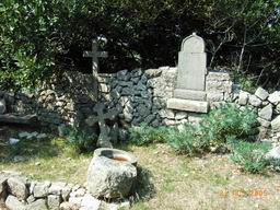 Walking on island Cres - old cemetery ruins near Gradiska (between Stivan and Ustrine)